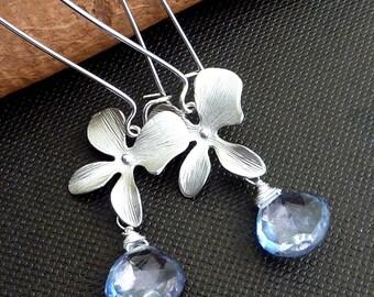 Custom Stone Earring - Mystic Blue Quartz, Orchid Flower Silver Earrings