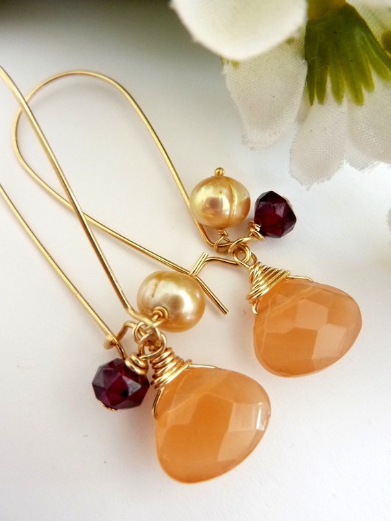 Peach Dream- Peach Chalcedony Pearl Garnet Long Golden Earrings