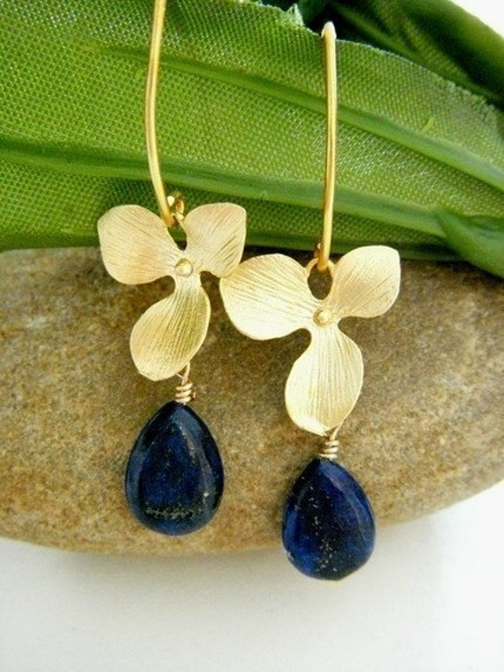 Lapis Lazuli Orchid Gold Vermeil Lotus Petal Earrings