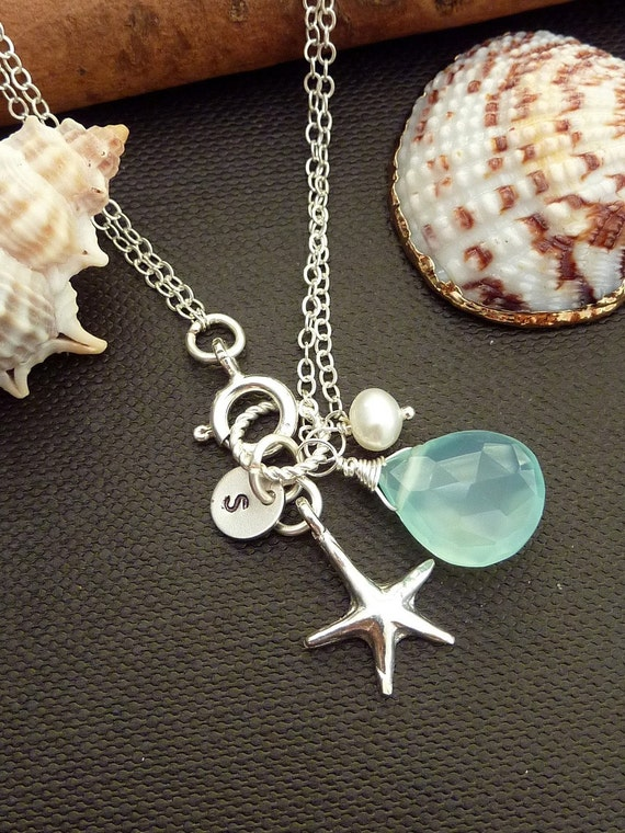 Custom Stone and Initial Bracelet - Aqua Chalcedony, SS Starfish, Custom Initial Disc, Pearl Bracelet in Sterling Silver Chain