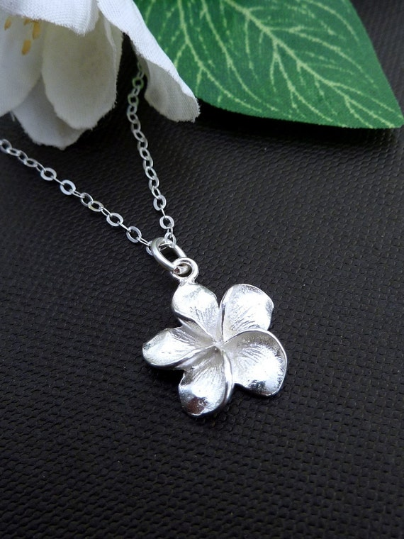 Simple Sterling Silver Frangipani Flower Necklace  in Sterling Silver Chain