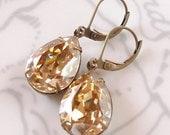 Swarovski Golden Shadow Pear Earrings Bridal Bridesmaid Holiday Champagne