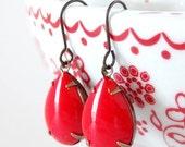 Cherry Red Earrings Vintage Milk Glass Summer Retro Rhinestone Pinup Girl