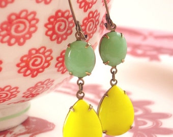 Lemon Lime Earrings Retro Citrus Yellow Green Milk Glass