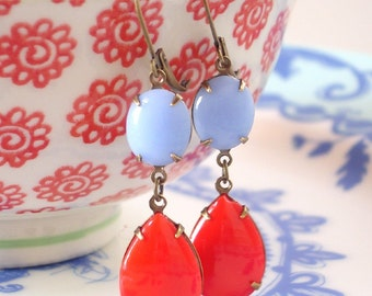 Cherry Red Ice Blue Vintage Milk Glass Earrings Mod Retro Earrings