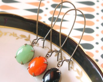 Retro Halloween Earrings Milk Glass Mint Green Pumpkin Orange Black Mod Vintage Halloween Gift Costume Party Halloween Colors October Gift