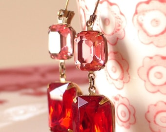 Swarovski Rose Pink Red Ruby Rhinestone Earrings Retro Bridesmaid Gift Old Hollywood Estate Style
