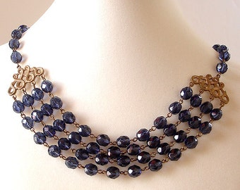 Midnight Blue Four Strand Necklace Czech Glass Beads Bridal Wedding Prom Old Hollywood Glamour