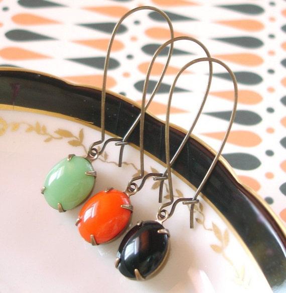 Retro Halloween Earrings Milk Glass Mint Green Pumpkin Orange Black