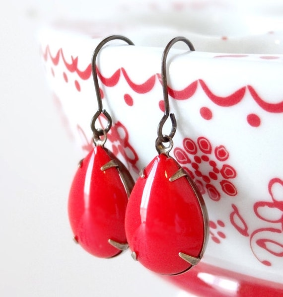 Cherry Red Earrings Vintage Milk Glass Summer Retro Rhinestone Pinup Girl