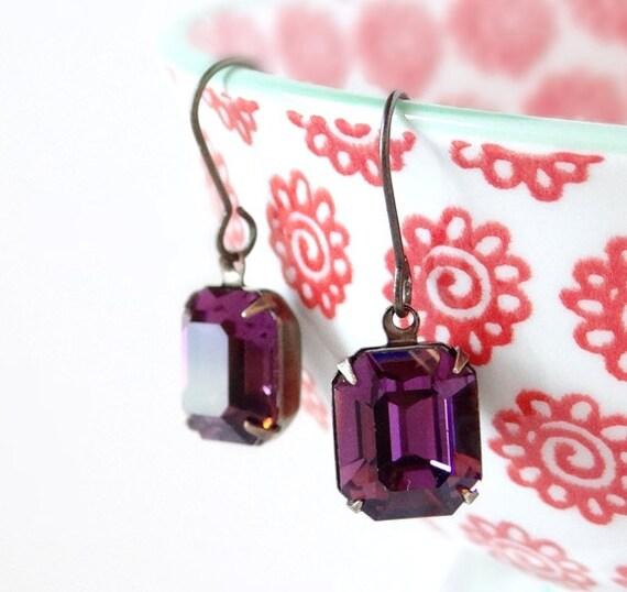 Swarovski Amethyst Earrings Purple Rhinestone Glam Emerald Cut Violet Crystals