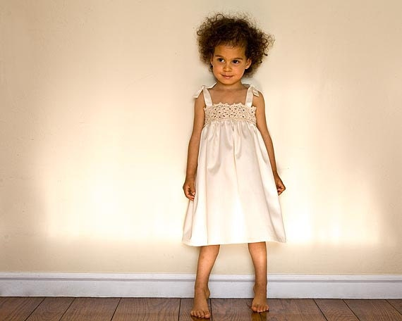 Organic Ivory Dress with Lace Lined with Organic Cotton Sateen, Hand Crocheted Flower Girl Organic Dress