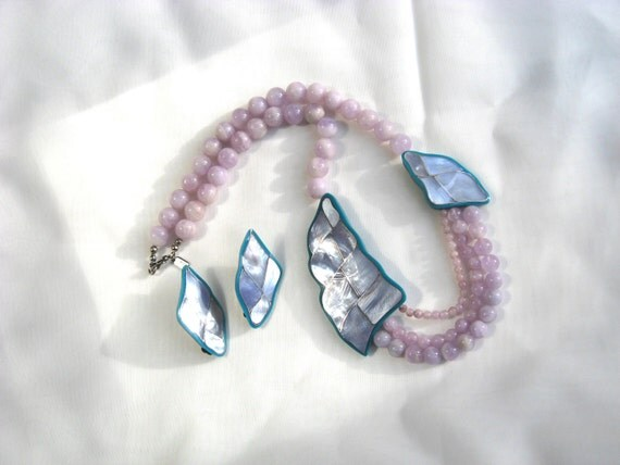 Karla Jordan Necklace Earring Signed Vintage Jewelry MOP Rose Quartz
