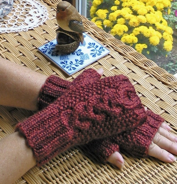 Cranberry Red FingerlessTexting Gloves w. Cable - Alpaca Blend