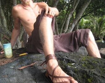 Mens Maori Sandal / Handmade Bullhide Leather Men Flat Minimalist Hippie Jesus Medieval Ren Fest Renaissance Roman Hobbit Festival Barefoot