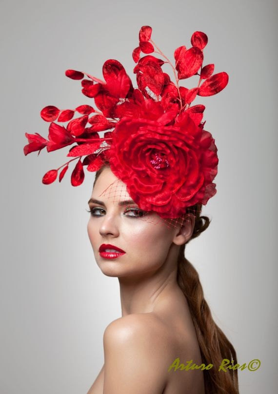 Red Fascinator,Cocktail Hat ,Derby Hat, Melbourne cup fascinator, Buy Fascinators