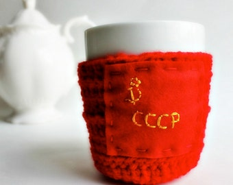Commie Coffee Mug Cozy tea cup red yellow funny Soviet Russian cover