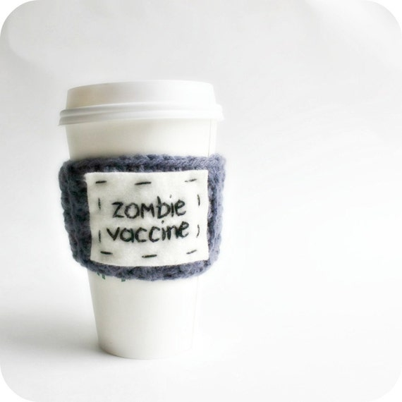 Zombie, Coffee Cozy, Tea, Travel Mug, To Go Cup, gray purple, sci fi, crochet, vaccine, walking dead, apocalypse, survival, reusable sleeve