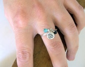 Sterling Silver Om Charm Ring with Opal and Onyx