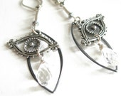 Silver Eye Chandelier Earrings