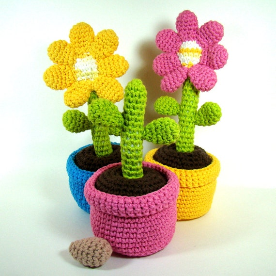 Original Crochet Amigurumi Flowers : Potted Flowers Stuffed Toy Play Set MADE TO by ...