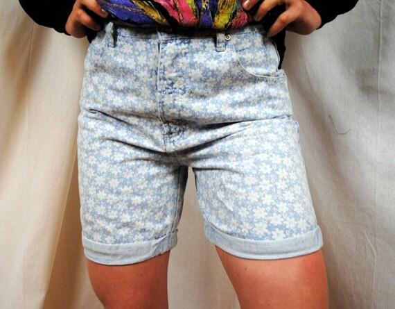 Vintage 90s Floral Denim Summer Shorts