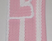 Handmade Pastel Pink and White Crocheted Baby Blanket Afghan