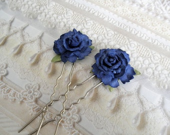 Blue Handmade Rose Hair Pins-Set of 2-Symbolizes Love and Prosperity To Those Who Seek It-Nature Inspired-Gifts Under 20