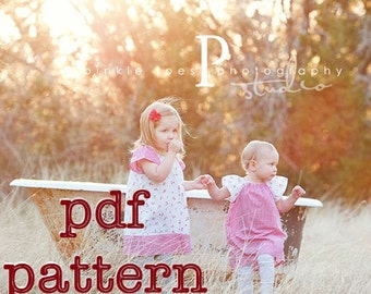 PDF Playdate Peasant Dress Pattern for Babies, Toddlers and Girls Sizes 6-9m, 12-18m, 2t, 3t, 4t, 5t, 6 & 7 - Instant Download