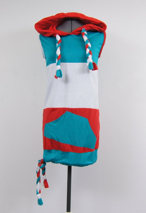 Red, Blue, and Glue Hoodie Vest Dress