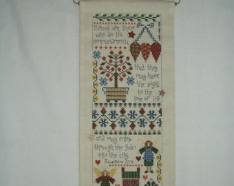Cross Stitch Needlecraft BLESSED ARE THOSE Christian Banner Completed with Wire Angel Hanger