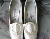 RESERVED Vintage 60's shimmering silver rhinestone brooch shoes heels 7  1/2  7.5