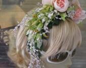 Flower Crown Hair fascinator headband head band bridal wedding roses beads