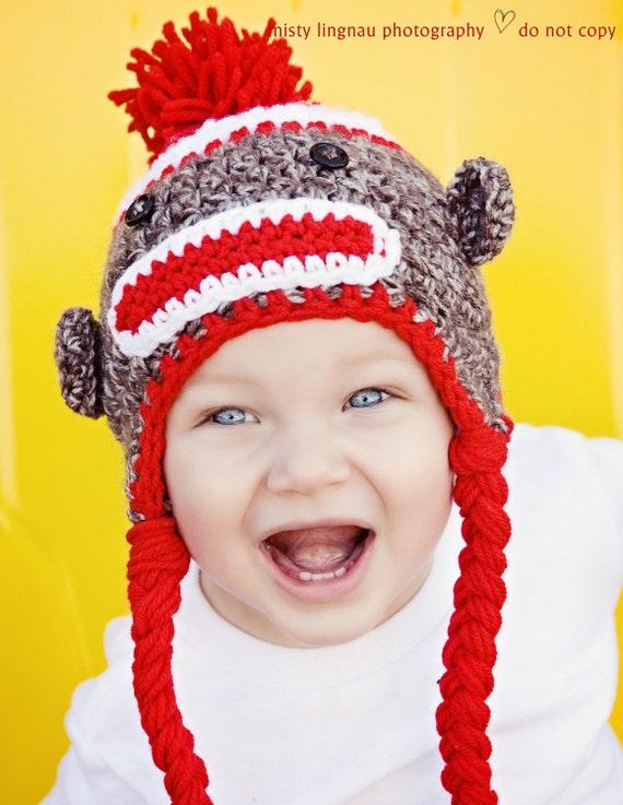 Sock Monkey Hat Newborn Photography Prop Toddler Boy Toddler Girl Hat