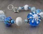 Snowflake Winter Blues Artisan Lampwork Bracelet