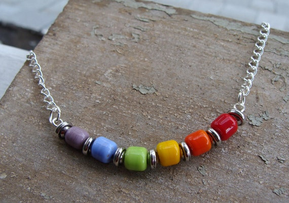 Somewhere Over The Rainbow Artisan Lampwork Necklace - STORE CLOSING SALE!