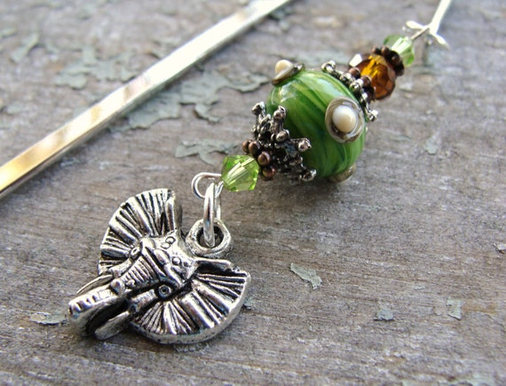 Elephant Artisan Lampwork Shepard's Hook Bookmark - CLOSEOUT PRICING!