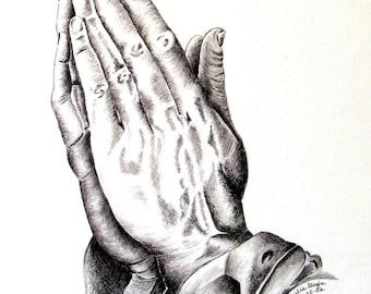 Praying Hands Giclee Print - Cancer Survivor