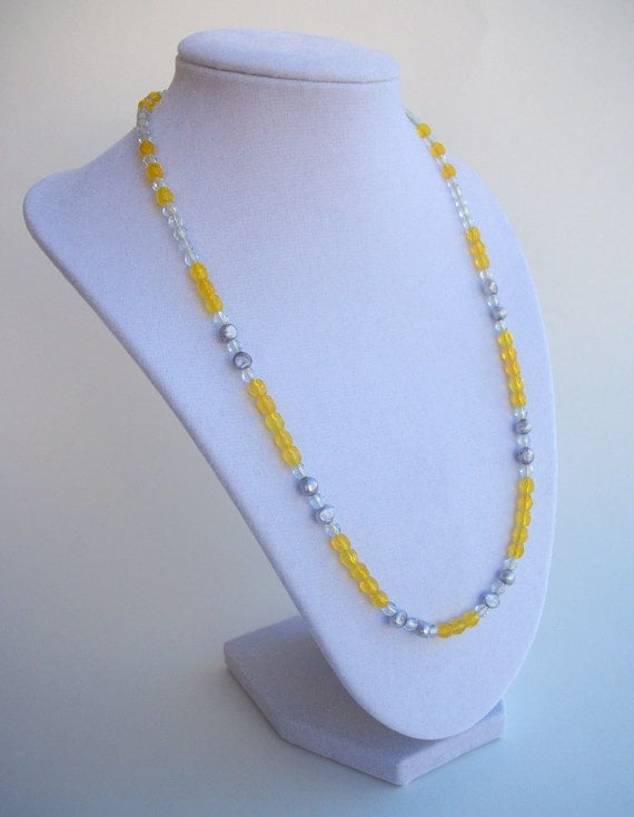 SALE 50% OFF - Sunshine Day / Yellow and Gray Pearl and Crystal Necklace. Trendy, Cheerful, Casual Chic. (OOAK)