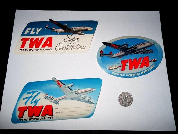 REDUCED Vintage 1950s TWA Luggage Stickers. Unused. Set of Three Different Graphics.