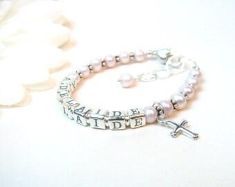 Baby Name Bracelet // Baby Bracelet // Baby Girl Bracelet // Little Girl Bracelet // Baptism Bracelet // Pink Baby Bracelet // Beaded Name