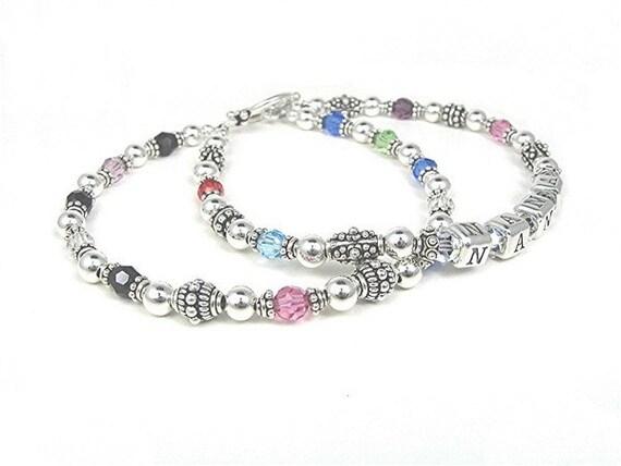 Grandmother Bracelet // Nonna Bracelet // Mimi Bracelet // Nana Bracelet // Gigi Bracelet // Birthstone Bracelet // Silver Name Bracelet