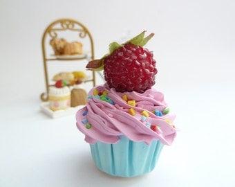 CUPCAKE CHARM fake cupcake - ornament cupcake charm  ,magnet cupcake ,christmas ornament cupcake , pink Icing mini size