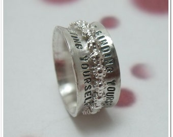 Spinner Ring with Flower Spinner Personalized Sterling Silver