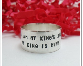 Hand Stamped Wide Band Sterling Silver Ring