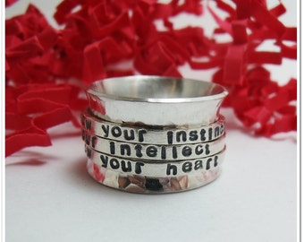 Triple Spinner Ring - Personalized Sterling Silver Ring - Worry Ring - Multi Spinner Ring