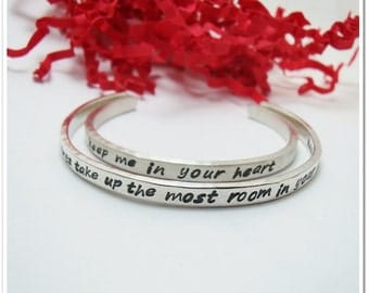 Mommy and Me Hand Stamped Cuff Bracelets - Personalized Sterling Silver Bracelet Set for Mother and Child