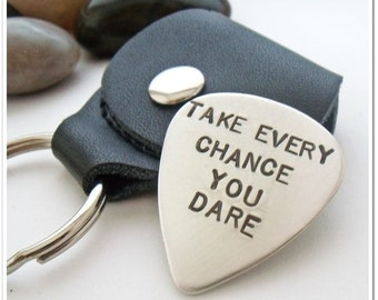 Guitar Pick/Guitar Plectrum with Leather Key Ring Holder - Personalized  Hand Stamped Single Sided- Fathers Day - Gifts for Dad