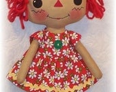 Doll Pattern, Rag Doll Cloth Doll pattern PDF pattern, Sewing, Primitive doll, Raggedy Ann Annie, Instant Download, Digital Download