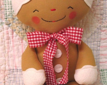 Gingerbread Man Pattern, Christmas, rag doll PATTERN, PDF Instant Download, Cloth Doll, Softie, Soft Toy, Cookie, Digital Download